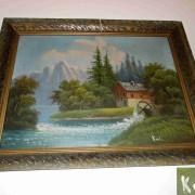 Obraz s vodním mlýnem sign. Král