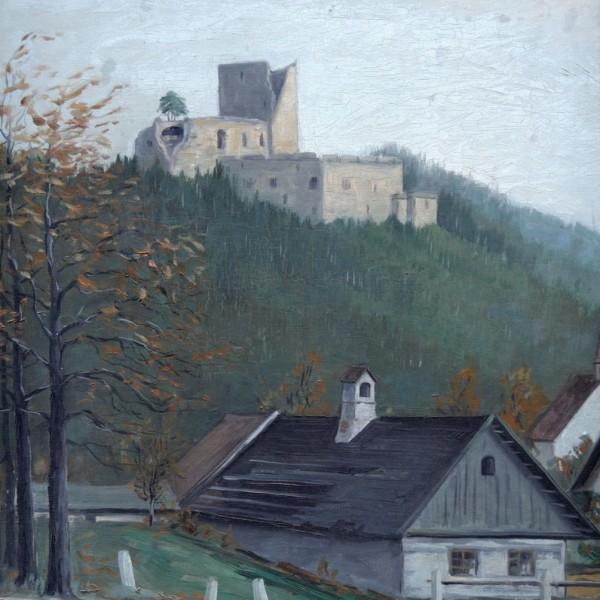Obraz s hradem, signovaný