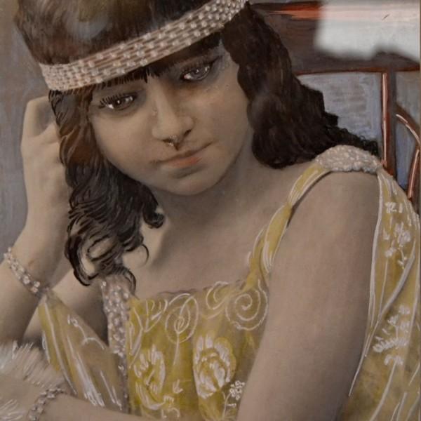 Obraz s mladou dámou, signováno