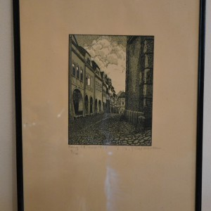 Obraz – litografie s partií měšťanských domů