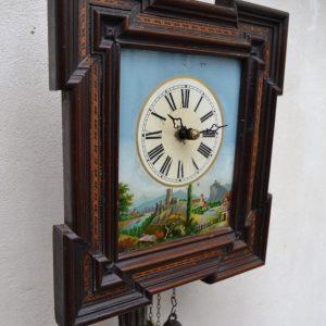 Starožitné rámové hodiny s obrázkem hradů