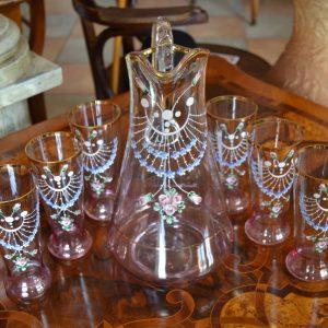 Starožitný secesní džbán a sklenice