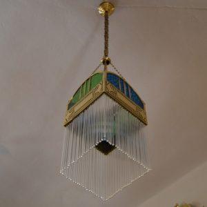 Secesní ověskový starožitný lustr