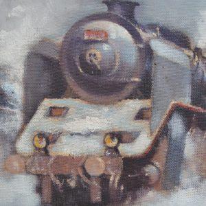 Starožitný obraz s parními lokomotivami - Mirko Šašek