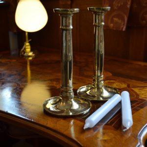 Mosazné párové starožitné svícny