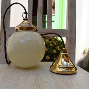 Starožitné závěsné světlo z lisované mosazi - B