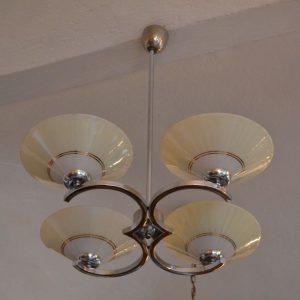 Starožitný modernistický chromovaný čtyř-ramenný lustr