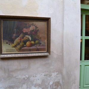 Obraz - zátiší s květinami a sladkými plody